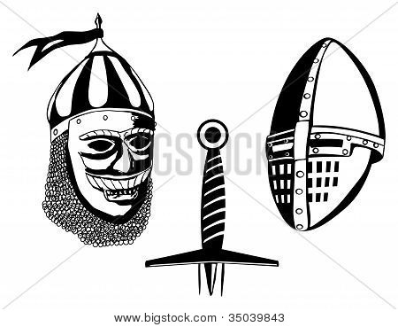 Medieval warriors helmets and sword