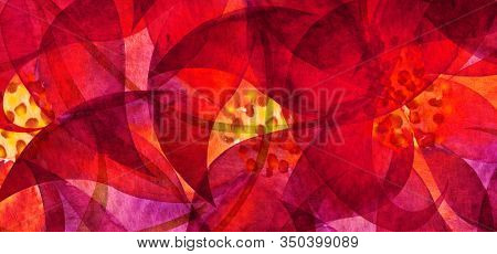 Red flower. Abstract acrylic and watercolor smear blot painting. Saturated Color horizontal texture background.
