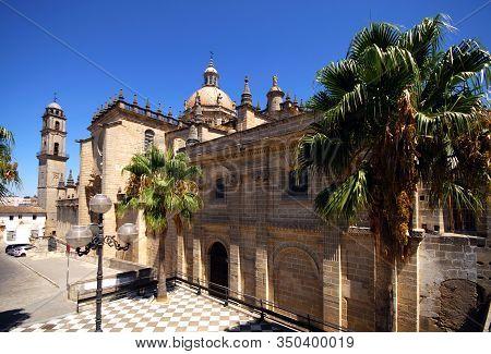 Jerez De La Frontera, Spain - August 20, 2008 - View Of San Salvador Cathedral With The Marques De B