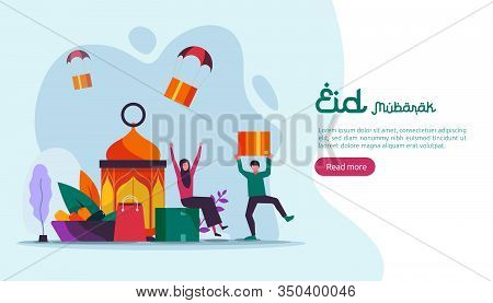 Islamic Design Illustration Concept For Happy Eid Mubarak Or Ramadan Greeting With People Character.