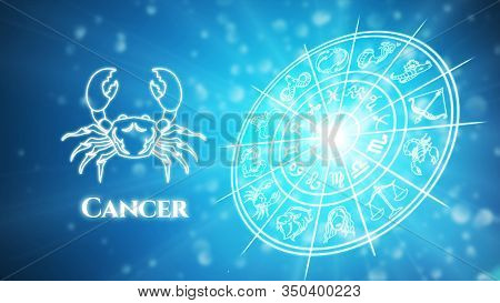 Cancer Zodiac Constellation Icons Signs With Zodiac Wheel Background, Astrology Symbol Horoscope