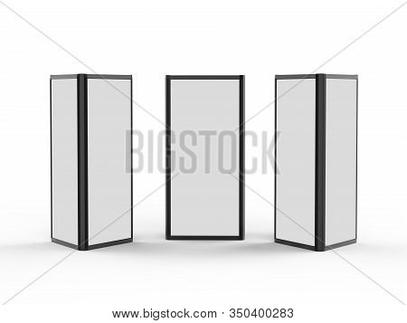 Aluminium Triangular Booth Display Tower, 3 Sided Display Stand Rack Fabric Advertising System For T