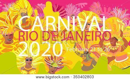 2020 Abstract Rio Brazilian Carnival music dance festival night party modern poster. Happy people Samba dancers parade Sambadrome, New Orleans Mardi Gras, Notting Hill London Venezia costume mask firework exotic tropical palm leaves Spanish San Fermin fie