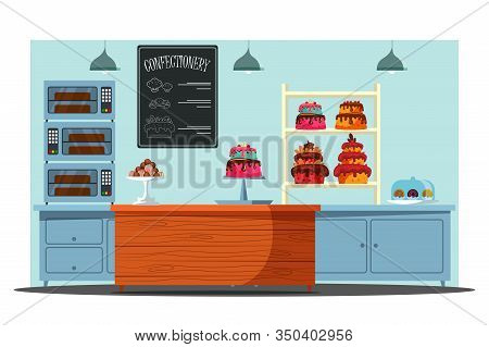 Empty Candy Store Flat Vector Illustration. Confectionery With No People, Pastry Shop Interior. Deli