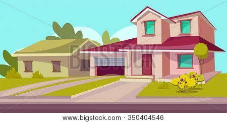 Residential House Flat Vector Illustration. Real Estate. Countryside Building Exterior. Two Storey D