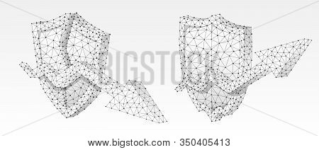 Set Of Shields With Growth And Downtrend Arrows On It. Low Poly, Wireframe 3d Vector Illustration. P