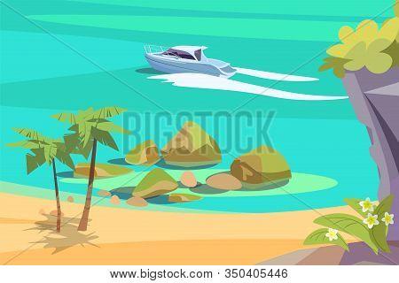 Picturesque Seascape Flat Vector Illustration. Beautiful Landscape, Scenic Sea View. Tropical Sand B