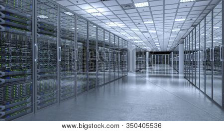 image 3d render of a modern database server room. telecommunication and cloud data storage concept.