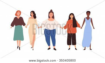 Group Of Diverse Different Heigh And Weigh Woman Holding Hand Vector Flat Illustration. Happy Girl U