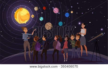 Children In Observatory Flat Vector Illustration. Teacher, Classmates And Tour Guide Cartoon Charact