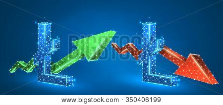 Litecoin Symbol, Set Of Arrows, Green Growth, And Red Downtrend. Low Poly, Wireframe 3d Vector Illus