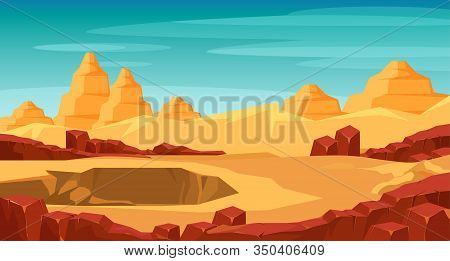 Grand Canyon Panorama Flat Vector Illustration. Beautiful Scenery With No People. Landscape Tourism,