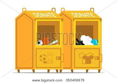 Donation Boxes Flat Vector Illustration. Containers With Used Toys, Books And Second Hand Clothes. H