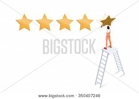 Five Star Rating Isometric Vector Illustration. Workman Standing On Ladder Cartoon Character. Custom