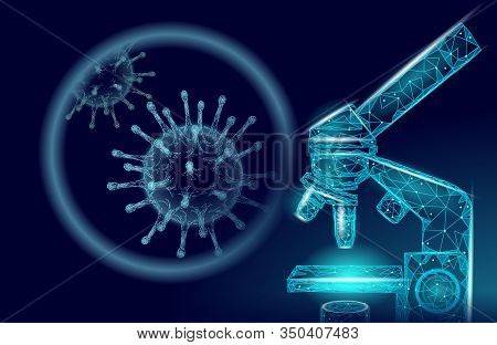 Microscope Virus 3d Low Poly Render. Laboratory Analysis Infection Virus Influenza Flu Pneumonia. Mo