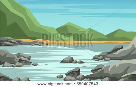 Mountain Valley Flat Vector Illustration. Wilderness Area, Nature Picturesque Landscape Cartoon Draw
