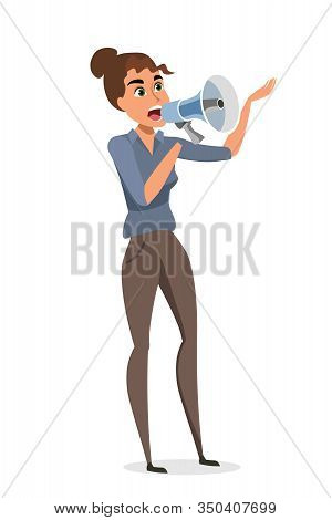 Female Protestor With Megaphone Flat Illustration. Woman, Demonstrator Shouting In Loudspeaker Isola