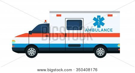 Ambulance Car Flat Vector Illustration. Emergency Department, Urgency Service Vehicle Isolated Clipa