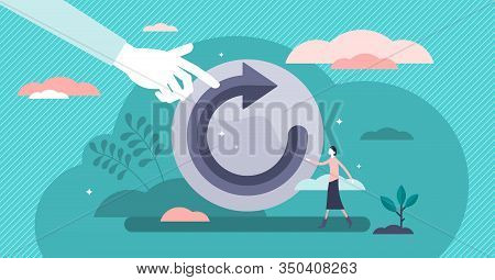 Refresh Concept, Flat Tiny Person Vector Illustration. Restart Project With A New Vision Or Rework T