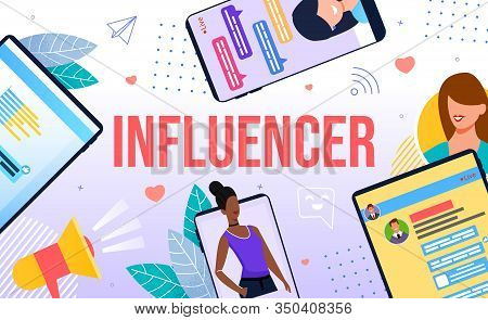Influencer And Referral Marketing. Blogger Promotion Services And Goods For Followers. Friend Loyalt