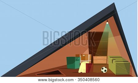 Attic Cross Section Flat Vector Illustration. Modern Townhouse Garret Cutaway With No People. Cottag