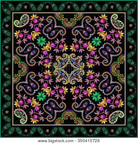 Colorful Bandana Print With Beautiful Floral Ornament. Silk Square Scarf. Fashion Design. Pillowcase