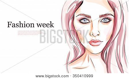 Hand-drawn Young Beautiful Girl With Makeup And Unusual Pink Hair. Fashion Illustration Of A Stylish