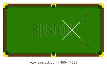 Realistic Illustration With Pool Billiard On Table. Pool Billiards Tournament Announcement Poster Wi