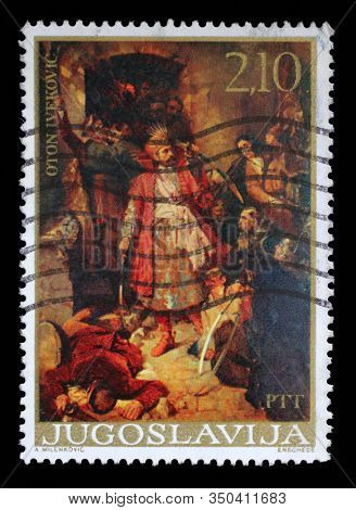 ZAGREB, CROATIA - JUNE 21, 2014: A stamp issued in Yugoslavia shows Nikola Subic Zrinjski at the battle of Siget, by Oton Ivekovic, circa 1976.