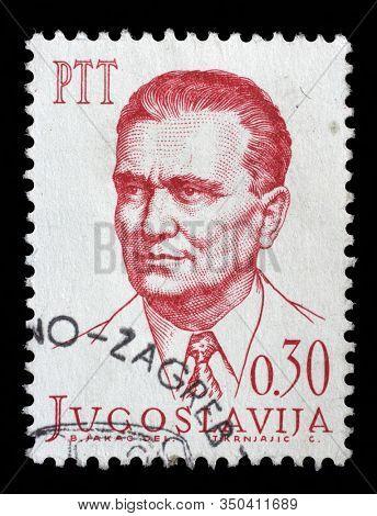 ZAGREB, CROATIA - JUNE 21, 2014: A stamp issued in Yugoslavia shows Josip Broz Tito(1892-1980), circa 1966.