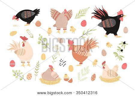 Set Of Vector Illustrations With Floral Elements And Cute Roosters, Hens And Chickens Isolated On Wh