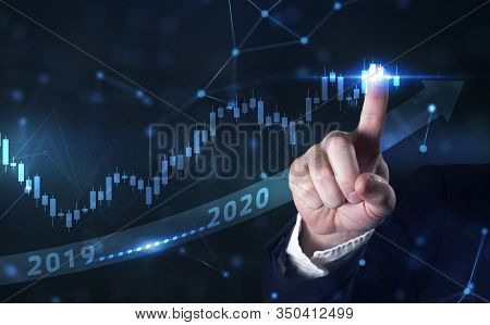 Business Development To Success And Growing Growth Year 2019 To 2020 Concept. Businessman Pointing A
