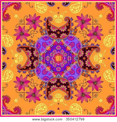 Ethnic Square Pattern With Bright Floral And Paisley Ornament. Vector Print For Scarf, Pillowcase, R