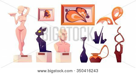 Modern Art For Museum Exposition. Vector Cartoon Set Of Gallery Exhibits, Abstract Paintings, Sculpt