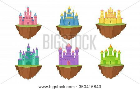 Fantasy Castles And Fortresses Floating In The Air Standing On Clot Vector Set