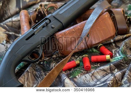 Close-up View Of Black Shotgun Old Leather Cartridge Belt And Red Shotgun Shells On The Camouflage B