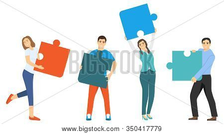 People Assemble The Puzzle. Collaboration, Cooperation, Teamwork. Vector Illustration Of Folding A P