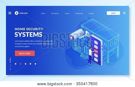 Smart Home, Remote House Surveillance And Security System App Concept. Vector 3d Isometric Illustrat