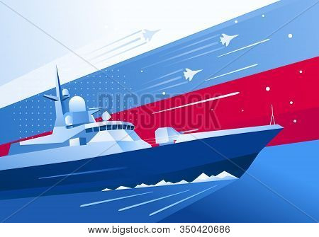 Anti-submarine Military Boat Card. Defender Of The Fatherland Day In Russia. May 9 Victory Day. Anti