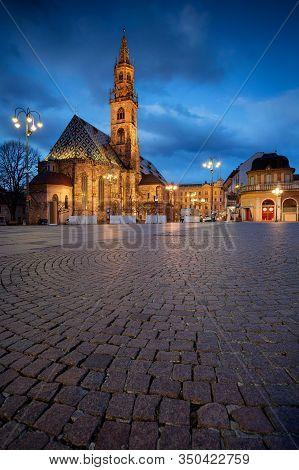 Bolzano, Italy. Cityscape Image Of Historical City Of Bolzano, Trentino, Italy With Bolzano Cathedra