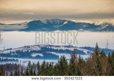 Winter Landscape. Mountains In The Winter. Mountains Above The Clouds. Slovakia