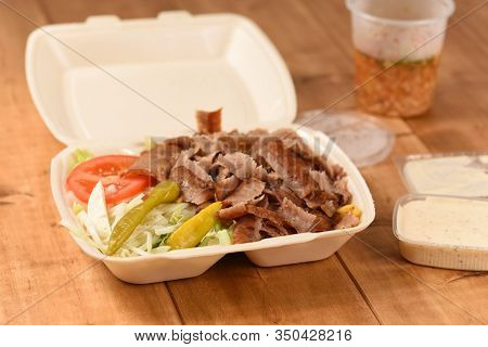 Doner Plate To Take Away In Germany, Turkish Fast Food In A Plastic Box