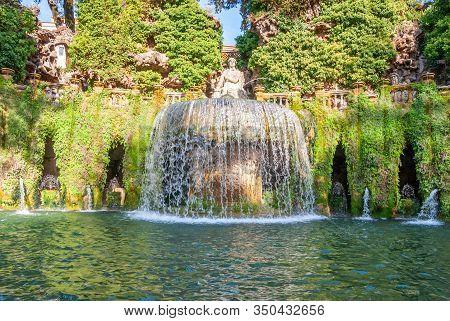 Villa D Este Gardens In Tivoli - Oval Fountain Or Fontana Del Ovato Local Landmark Of Tivoli Near Ro