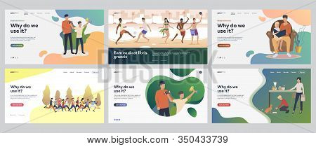 Leisure Time Set. Friends, Family Enjoying Activities Outdoors, At Home. Flat Vector Illustrations.
