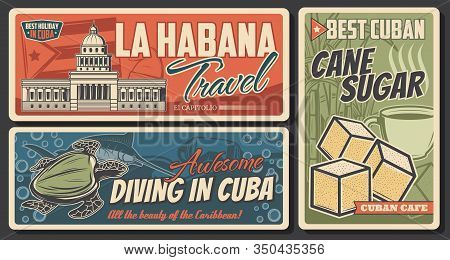 Cuba And Havana Travel Retro Banners. Cuban Flag And National Capitol Building Vector Design With Ca