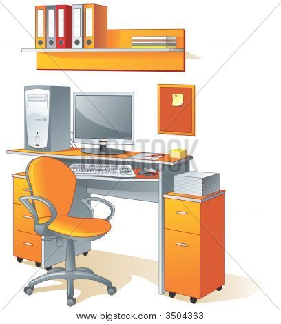 Desk, Computer, Chair, Files - Workplace