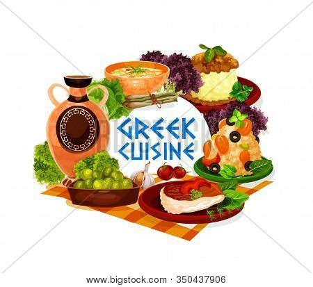 Greek Cuisine Vector Icon Of Seafood And Meat Dishes, Served With Olives And Wine. Shrimp Risotto, B