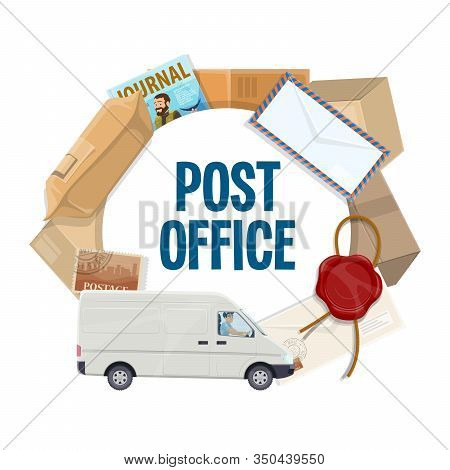 Post Office Vector Icon With Mail Delivery Truck, Postal Parcels, Boxes And Packages, Letters, Posta