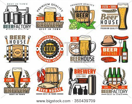 Beer Brewery, Craft Pub And Bar Vector Icons. Alcohol Drink Barrel, Mugs, Bottles And Glasses Of Ale