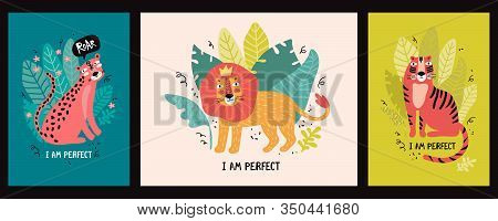 Set Greeting Cards Or Banners With Cute Leopard, Tiger And Lion In The Jungle And With Text I Am Per